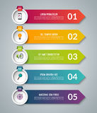 Arrow infographic options banner. Vector template with 5 steps. Can be used for workflow layout, diagram, number and step options, graph, web design royalty free illustration