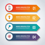 Arrow infographic options banner. Vector template with 4 steps. Can be used for workflow layout, diagram, number and step options, graph, web design Stock Image
