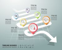 Arrow infographic template 6 options. Business concept. Can be used for workflow layout, diagram, number options, timeline, steps stock illustration