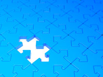 Arrow joint blue jigsaw puzzle. Rendered image. Blue 3d jigsaw puzzle with  dof. Arrow joint Royalty Free Stock Photo