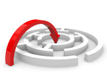 Arrow jump into the center of maze. Clever solution. Royalty Free Stock Photography