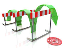 Arrow jumping over hurdles Royalty Free Stock Images