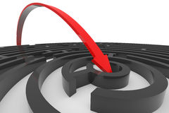 Arrow jumps to the center of the black maze. stock illustration