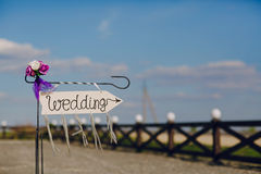 Arrow labeled wedding Royalty Free Stock Photo