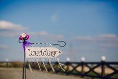 Arrow labeled wedding Stock Image