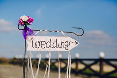Arrow labeled wedding Royalty Free Stock Photography