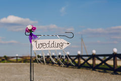 Arrow labeled wedding Stock Photography