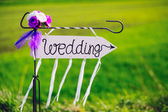 Arrow labeled wedding Royalty Free Stock Image