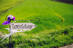Arrow labeled wedding Royalty Free Stock Photos