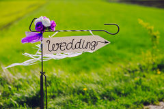Arrow labeled wedding Royalty Free Stock Images