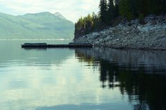 Arrow Lake. Peaceful morning view of Upper Arrow Lake near Nakusp, British Columbia Royalty Free Stock Photos