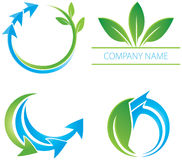 Arrow Leaf Logo. An abstract water and leaf logo set Stock Photography