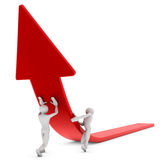 Arrow Lift. 3d image, two characters pulling arrow Stock Photo