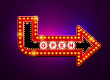 Arrow light neon sign Stock Images