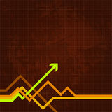 Arrow and lines on graph. Illustration of arrow and zigzag lines on brown graph paper.  Also in vector format Stock Image