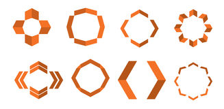 Arrow logo shapes. Dark Orange Logo shapes with arrows Stock Photos