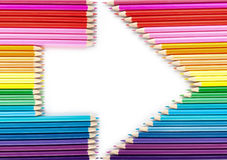 Arrow made from color pencils Royalty Free Stock Photo