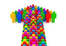 Arrow made from colorful 3d people Royalty Free Stock Photos