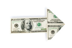 Arrow made of dollars Royalty Free Stock Image