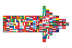 Arrow made of flag icons Stock Photos