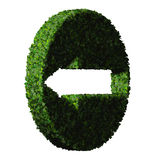 Arrow made from green leaves. 3D render. Royalty Free Stock Image
