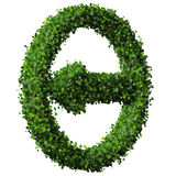 Arrow made from green leaves. 3D render. Royalty Free Stock Photography