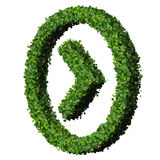 Arrow made from green leaves isolated on white background. 3D render. Royalty Free Stock Photo