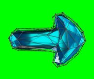 Arrow made in low poly style blue color isolated on green background. 3d. Rendering Royalty Free Illustration