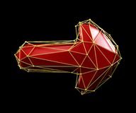 Arrow made in low poly style red color isolated on black background. 3d royalty free stock image