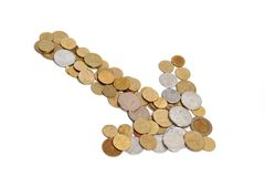 Arrow made out of coins Royalty Free Stock Photo