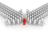 Arrow made of people. 3D image. Royalty Free Stock Images