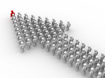 Arrow made of people. Stock Images