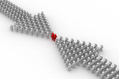 Arrow made of people. Royalty Free Stock Photography