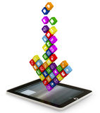 Arrow made up of the apps  falling into the displ Royalty Free Stock Image