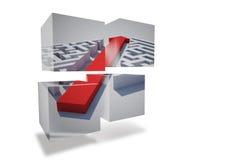 Arrow through maze on abstract screen Stock Image