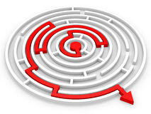 Arrow into the maze. Right solution concept. 3D illustration Royalty Free Stock Image