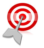 Arrow in the middle of archery Royalty Free Stock Photography