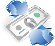 Arrow and money Royalty Free Stock Photos