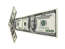 Arrow of money. Arrow made of dollars targetting Royalty Free Stock Images