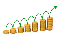 Arrow and money staircase Stock Photo