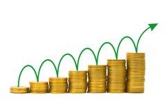 Arrow and money staircase Stock Photos