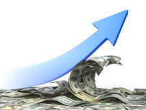 Arrow move up on wave of dollars. Conceptual finance illustration Stock Photography