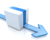 Arrow moves along the cube Stock Photo