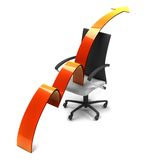 Arrow moving up over a chair Royalty Free Stock Image