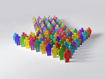 Arrow of multicolor people Royalty Free Stock Images