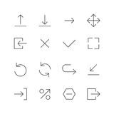 Arrow and navigation line icons set. Stock Images