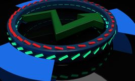 Arrow and neons, 3d. Render Stock Photography