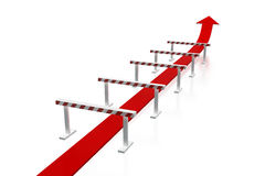 Arrow and obstacles. Success in business with illegal movement - conceptual 3d image of arrow and obstacles Stock Photo