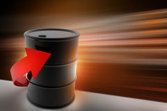 Arrow  with oil drum Stock Photos