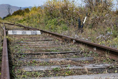 The arrow on the old railway line Royalty Free Stock Photo